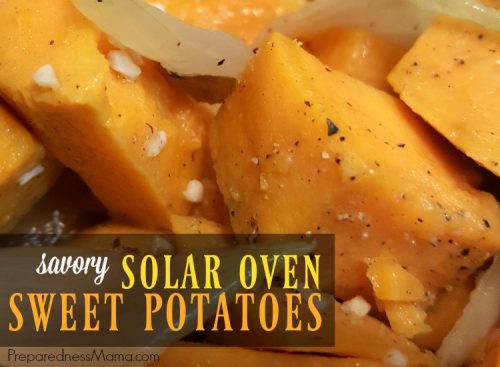 Try this savory solar oven sweet potatos recipe. It's a nice change on a cold winter day | PreparednessMama