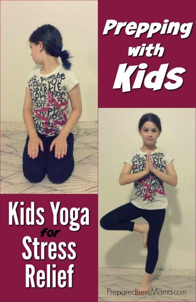 Some days being a kid is just plain stressful. Use these poses to teach your kids yoga for stress relief. It's a skill they need to learn now so they can use it in the future | PreparednessMama
