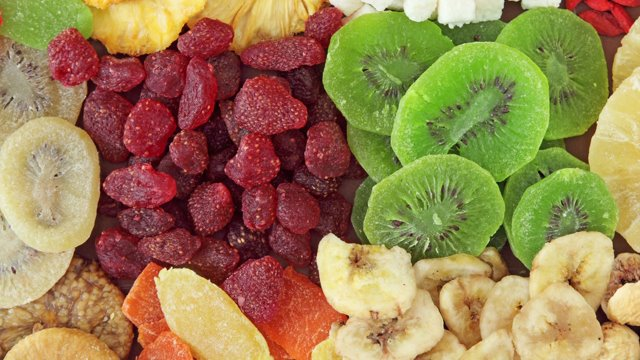 close-up photos of different freeze dried fruits