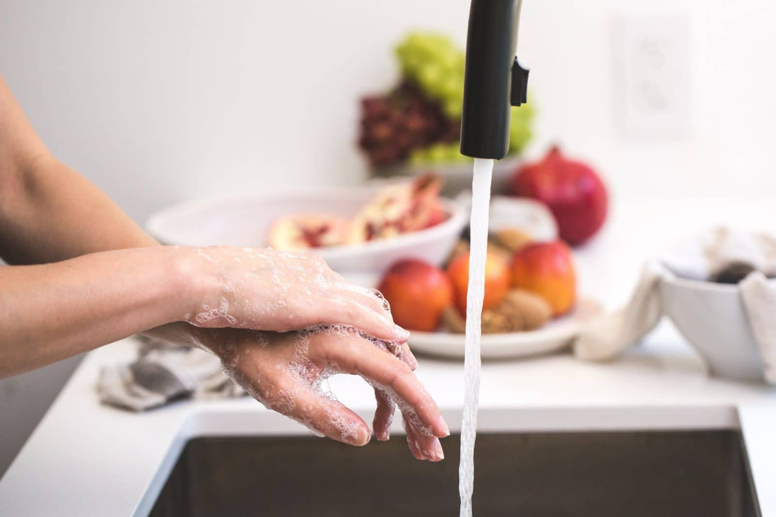 washing hands in the kitchen before dehydrating the meat