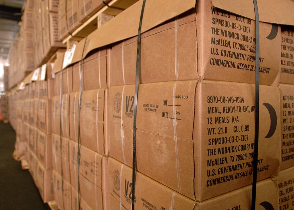 a pile of mre boxes