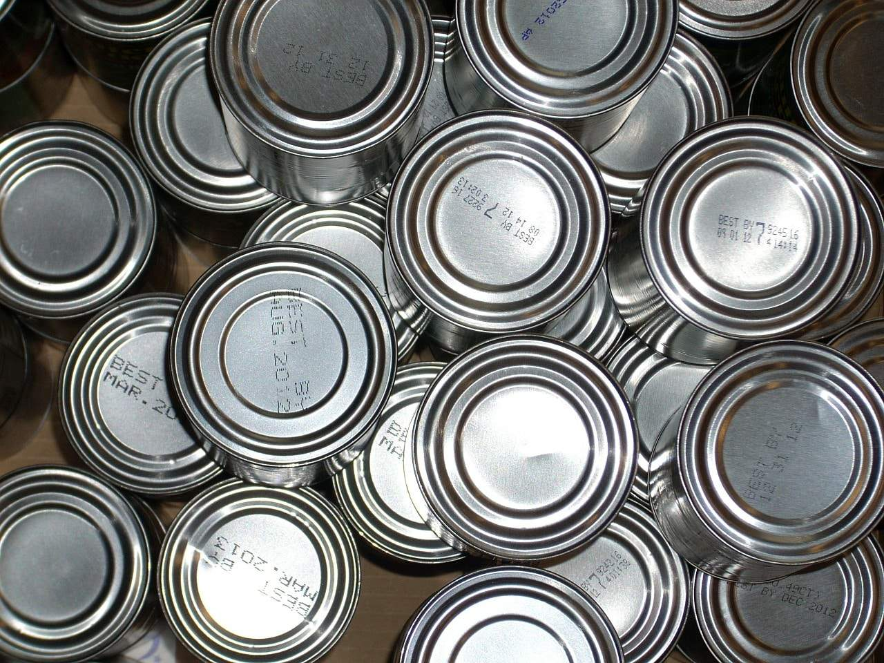 top view of several #10 cans