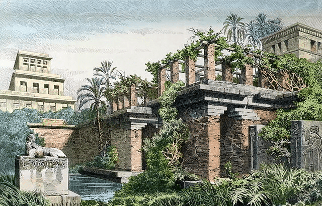 portrait featuring the hanging Gardens of Babylon