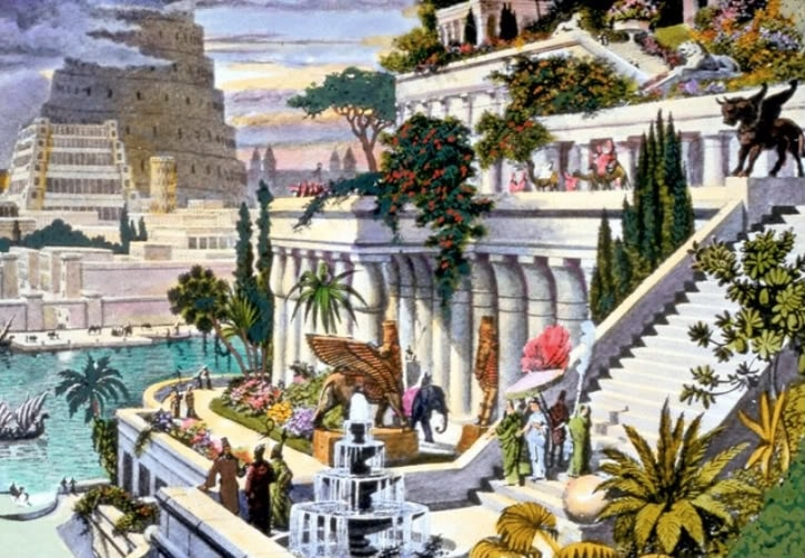 illustration showing the Hanging Gardens of Babylon