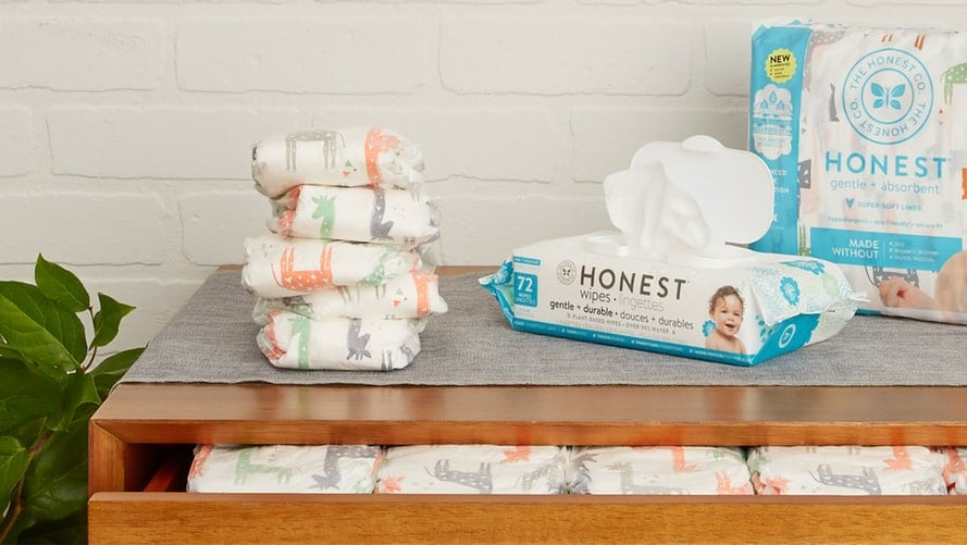 diapers and wipes on table