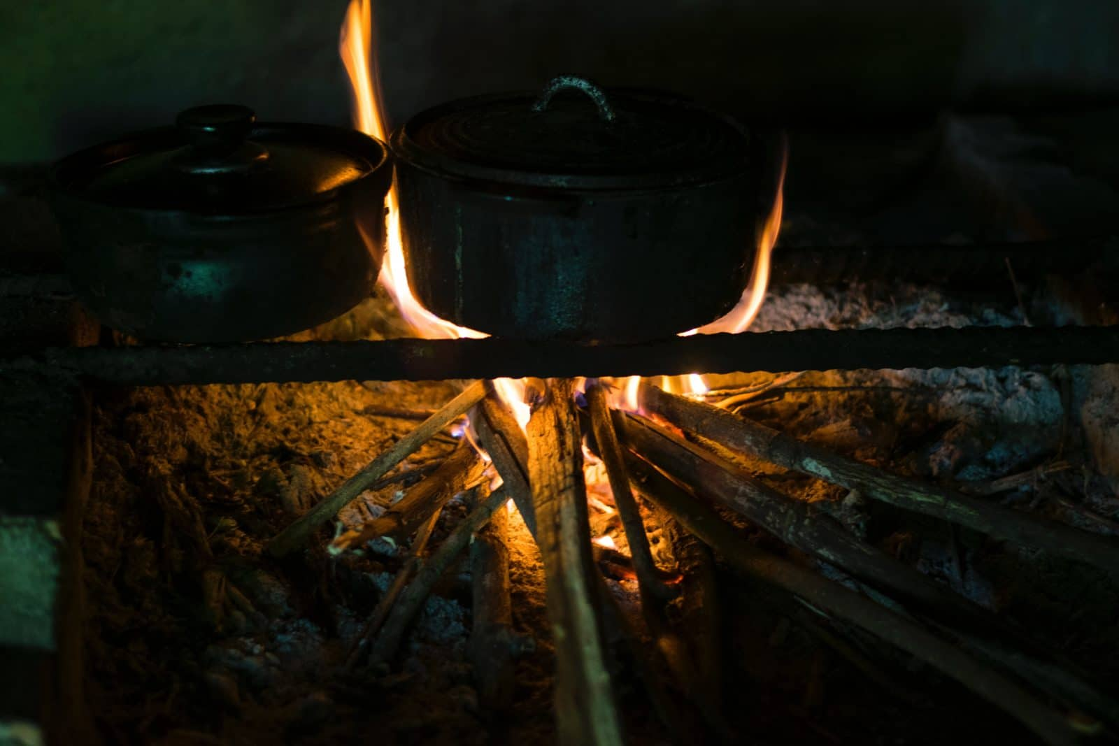 Cooking pot over a firewood